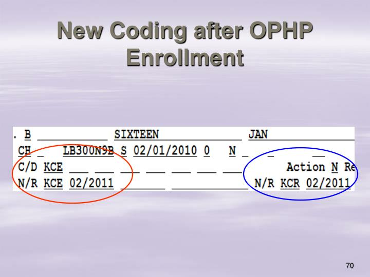 New Coding after OPHP Enrollment