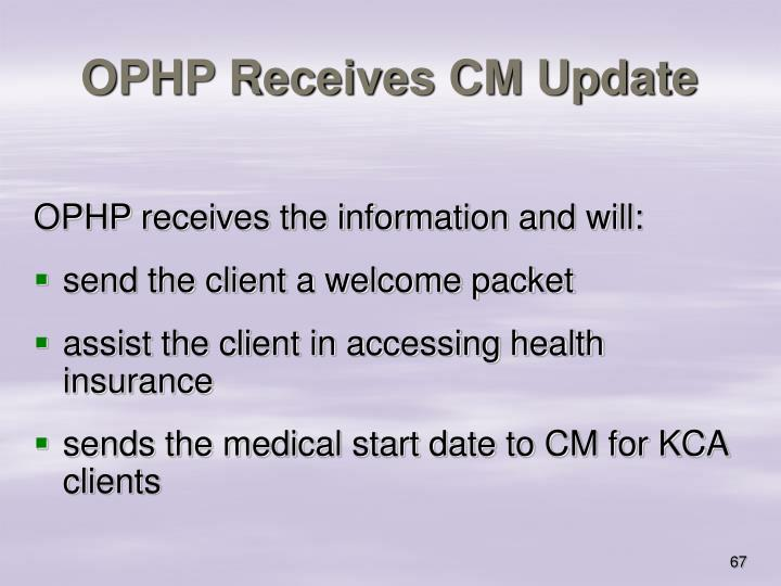 OPHP Receives CM Update