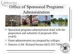 office of sponsored programs administration