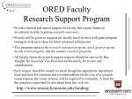 ored faculty research support program