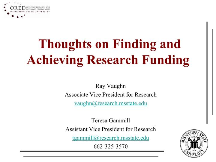 thoughts on finding and achieving research funding n.