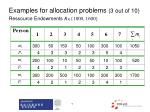 examples for allocation problems 3 out of 10 ressource endowments r 1000 1600