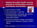 1 applies the public health nursing process to communities systems individuals and families