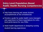 entry level population based public health nursing competencies