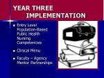 year three implementation