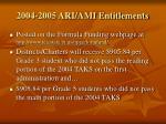 2004 2005 ari ami entitlements