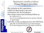 requirements vaststellen en beheren change request procedure