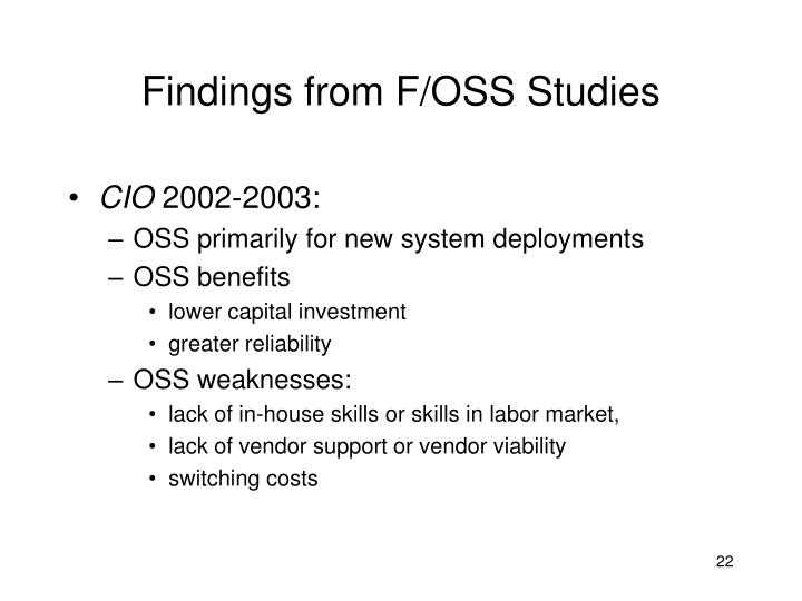Findings from F/OSS Studies