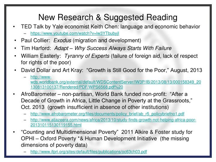 New Research & Suggested Reading