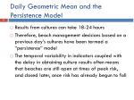 daily geometric mean and the persistence model