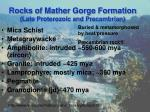 rocks of mather gorge formation late proterozoic and precambrian