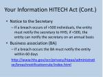 your information hitech act cont