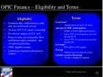 opic finance eligibility and terms
