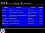 opic recent housing experience