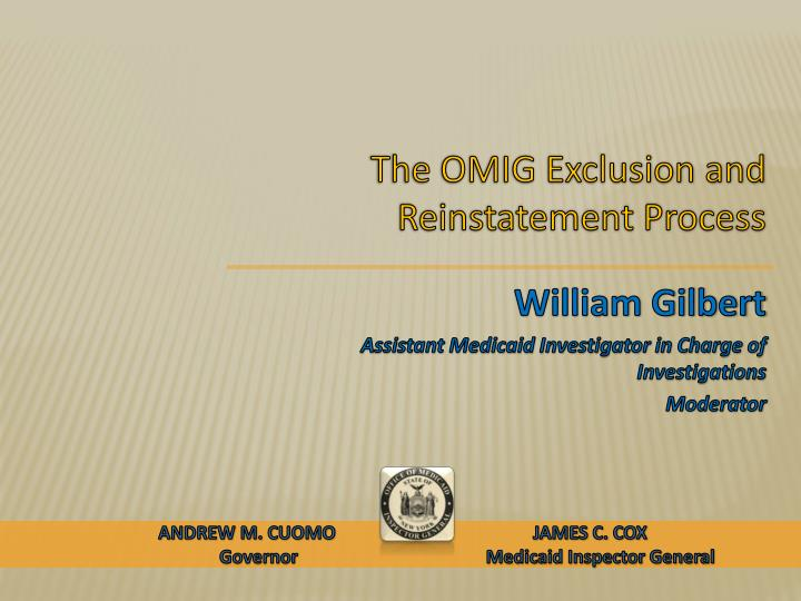 the omig exclusion and reinstatement process n.