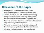 relevance of the paper