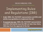 implementing rules and regulations irr
