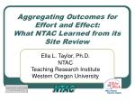 aggregating outcomes for effort and effect what ntac learned from its site review