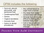 opim includes the following