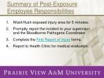 summary of post exposure employee responsibilities