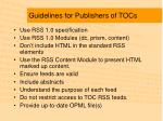 guidelines for publishers of tocs