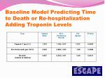 baseline model predicting time to death or re hospitalization adding troponin levels