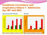 combined circulatory and respiratory failure admission sys bp and so2