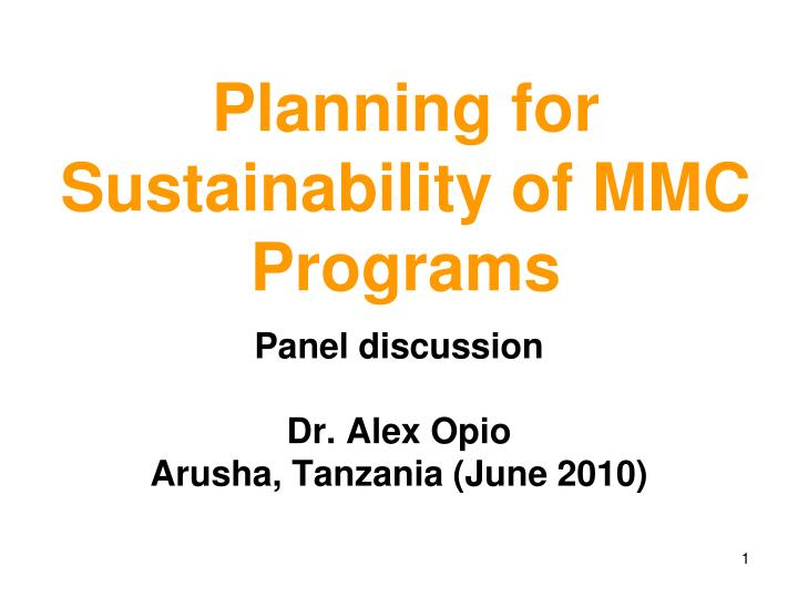planning for sustainability of mmc programs n.