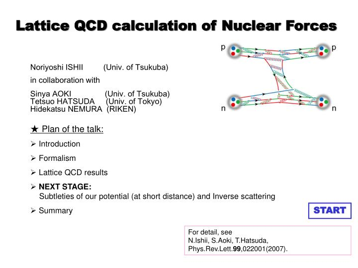 lattice qcd calculation of nuclear forces n.