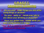 c r a f f t adolescent screening1