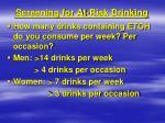 screening for at risk drinking