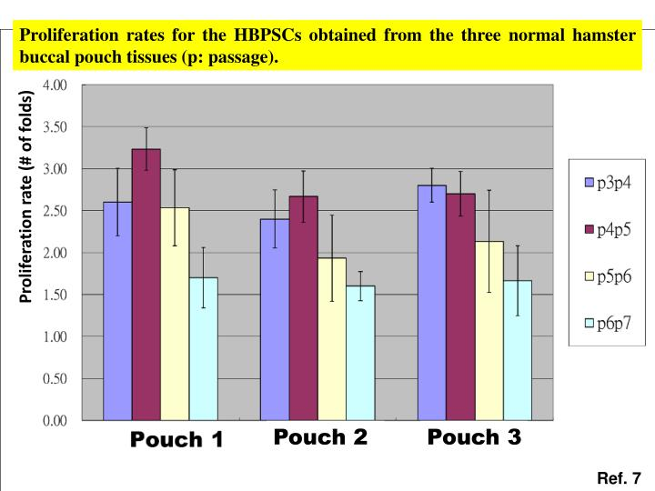 Proliferation rates for the HBPSCs obtained from the three normal hamster buccal pouch tissues (p: passage).