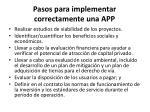 pasos para implementar correctamente una app