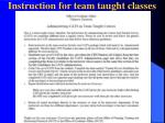 instruction for team taught classes