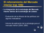 el reforzamiento del mercado interior tras 19921