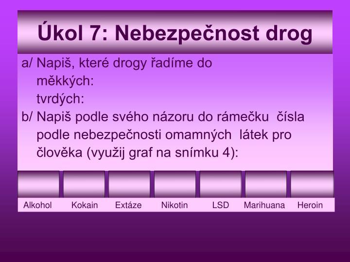 Úkol 7: Nebezpečnost drog