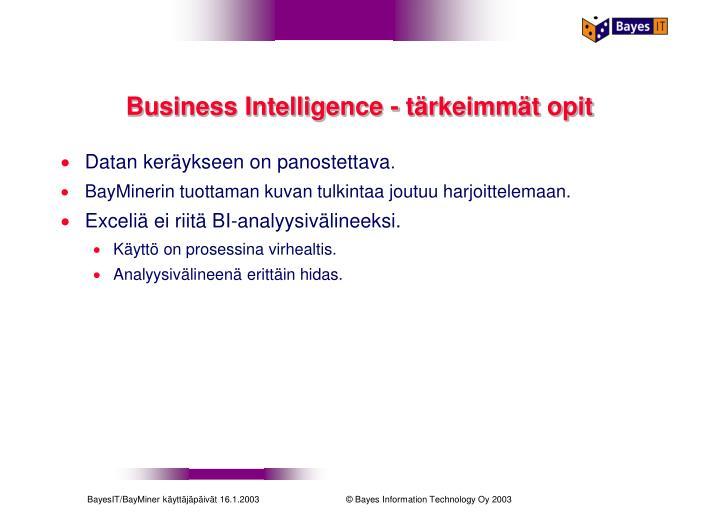 Business Intelligence - tärkeimmät opit