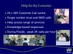 help for the customer