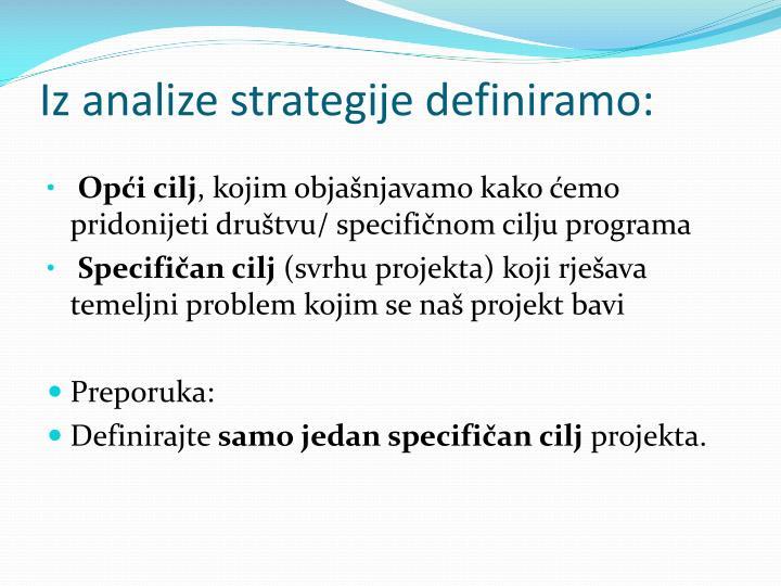 Iz analize strategije definiramo: