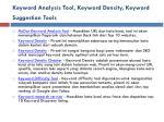 keyword analysis tool keyword density keyword suggestion tools