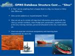 opms database structure cont sites