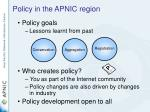 policy in the apnic region