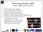 observing statistics 2008 based on nightly observing reports