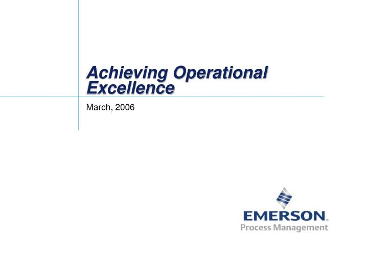 achieving operational excellence n.