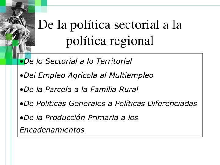 De la política sectorial a la política regional