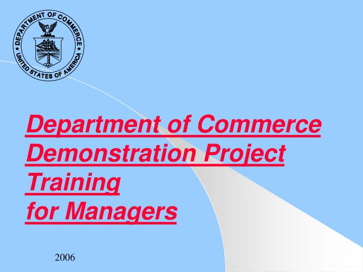 department of commerce demonstration project training for managers n.