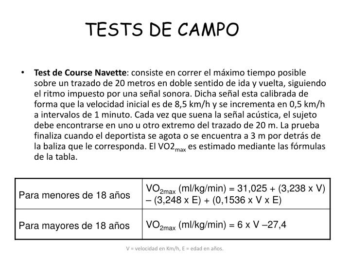TESTS DE CAMPO