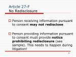 article 27 f no redisclosure