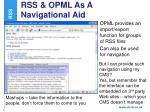rss opml as a navigational aid