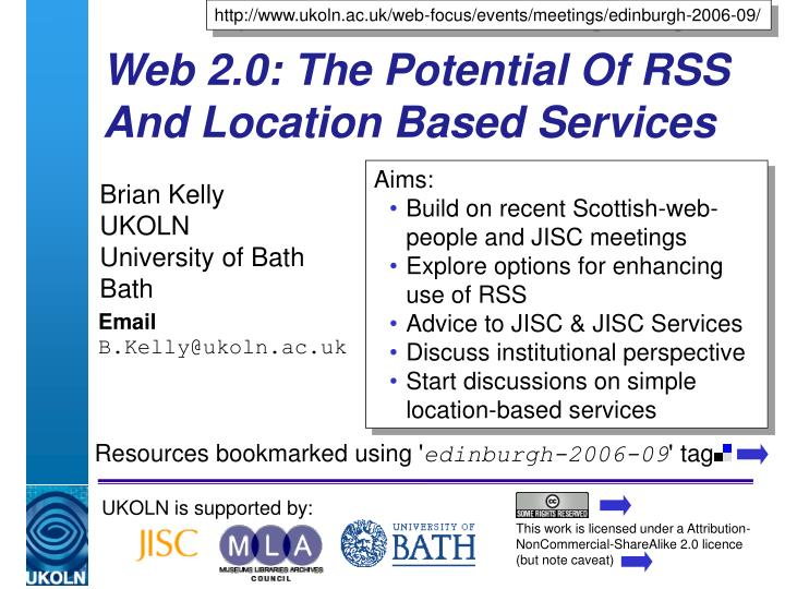 web 2 0 the potential of rss and location based services n.